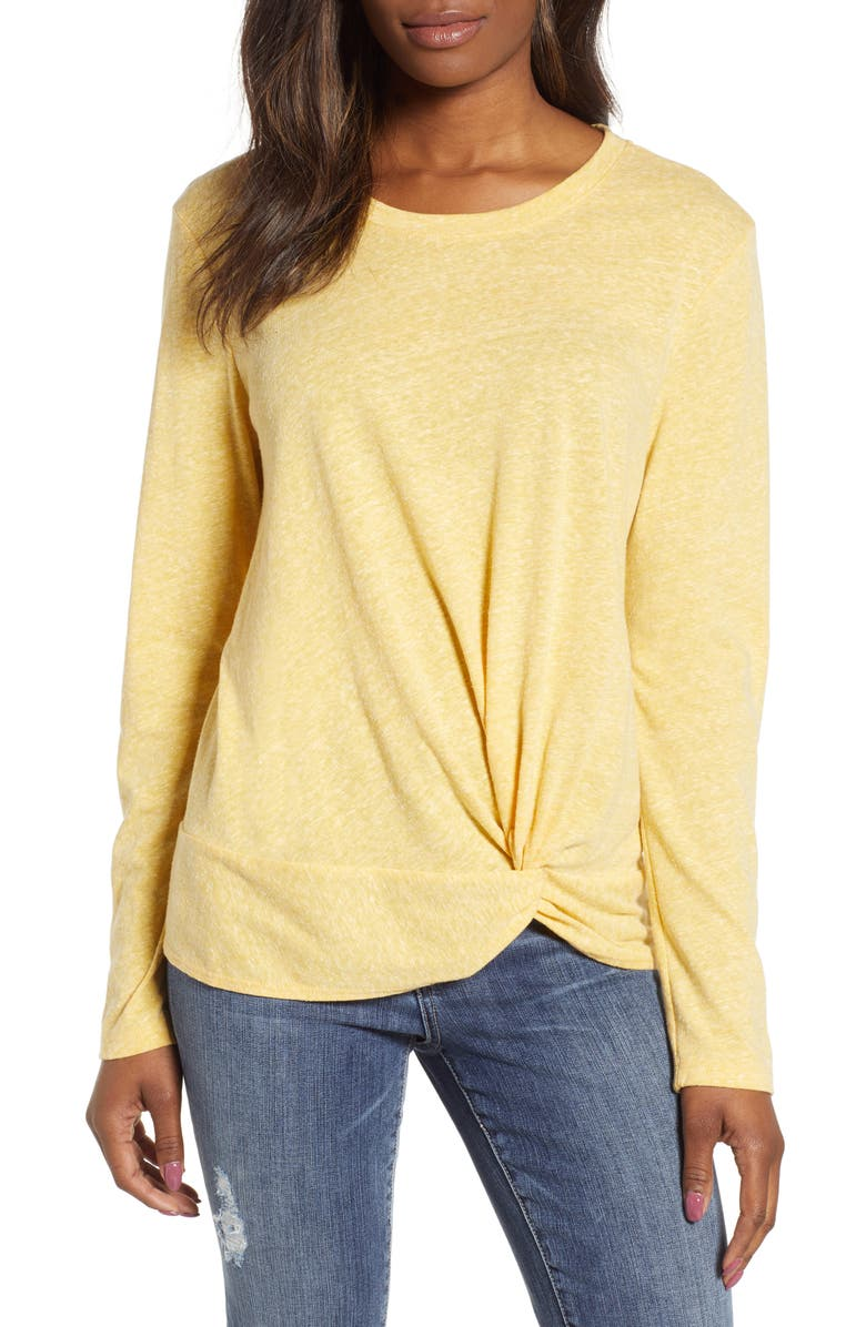 CASLON<SUP>®</SUP> Long Sleeve Front Knot Tee, Main, color, 720
