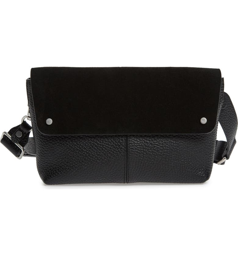 TREASURE & BOND Montana Leather Belt Bag, Main, color, BLACK