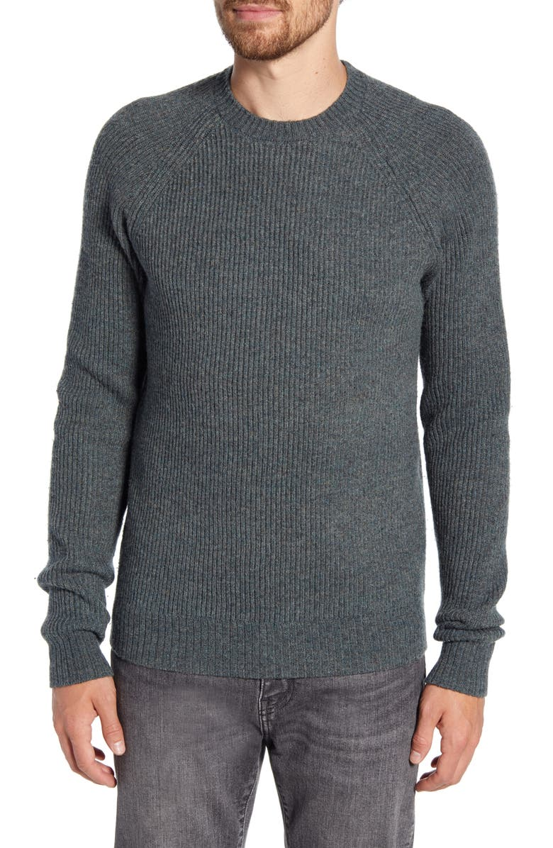 SCHOTT NYC Ribbed Wool Blend Sweater, Main, color, SAGE
