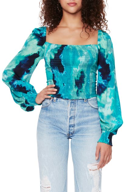 Afrm Bardot Tie Dye Smocked Square Neck Top In Green Tie Dye