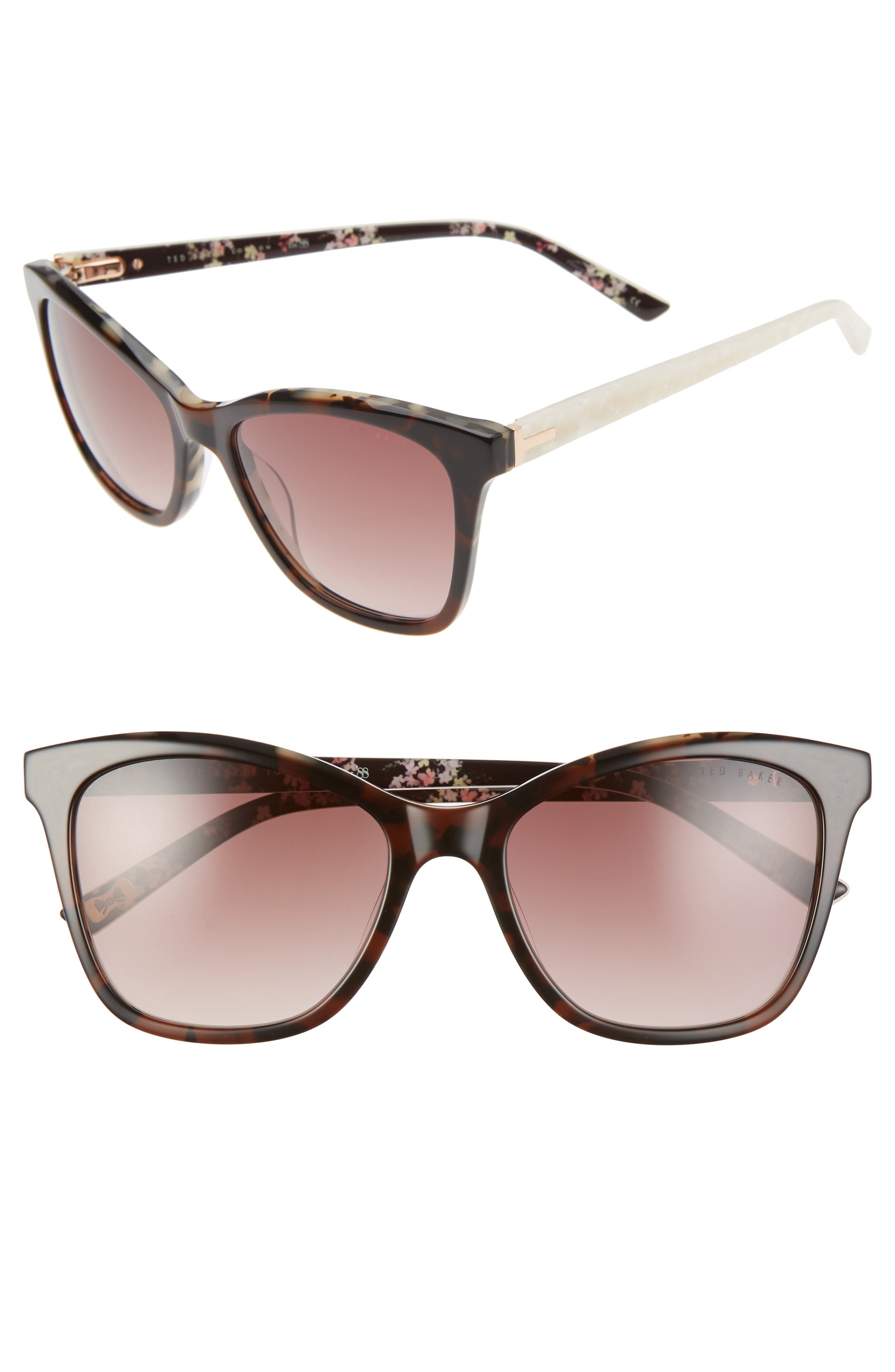 A slight cat eye gives some style and sass to these square sunglasses branded with a T temple hinge and inner floral print. Style Name: Ted Baker London 54mm Cat Eye Sunglasses. Style Number: 5987435. Available in stores.