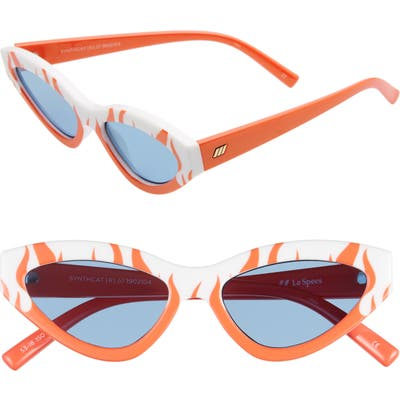 Le Specs Synthcat 5m Cat Eye Sunglasses - Flame White/ Navy Mono