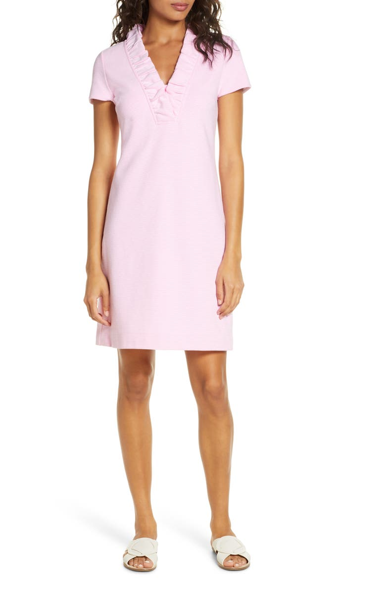 LILLY PULITZER<SUP>®</SUP> Tisbury Stripe Ruffle Neck Dress, Main, color, PROSECCO PINK LUCKY CATCH