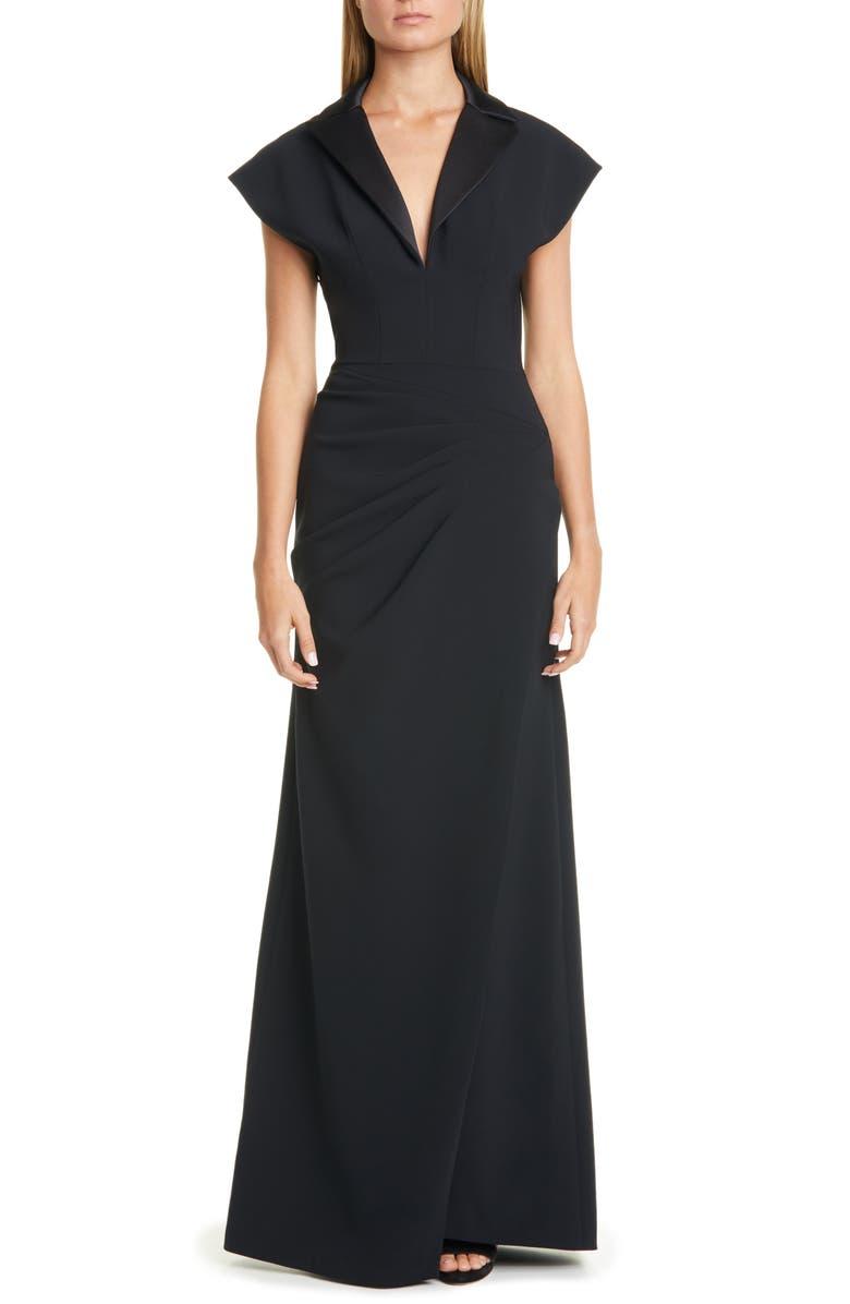 CHRISTIAN SIRIANO Infinite Tuxedo Gown, Main, color, BLACK