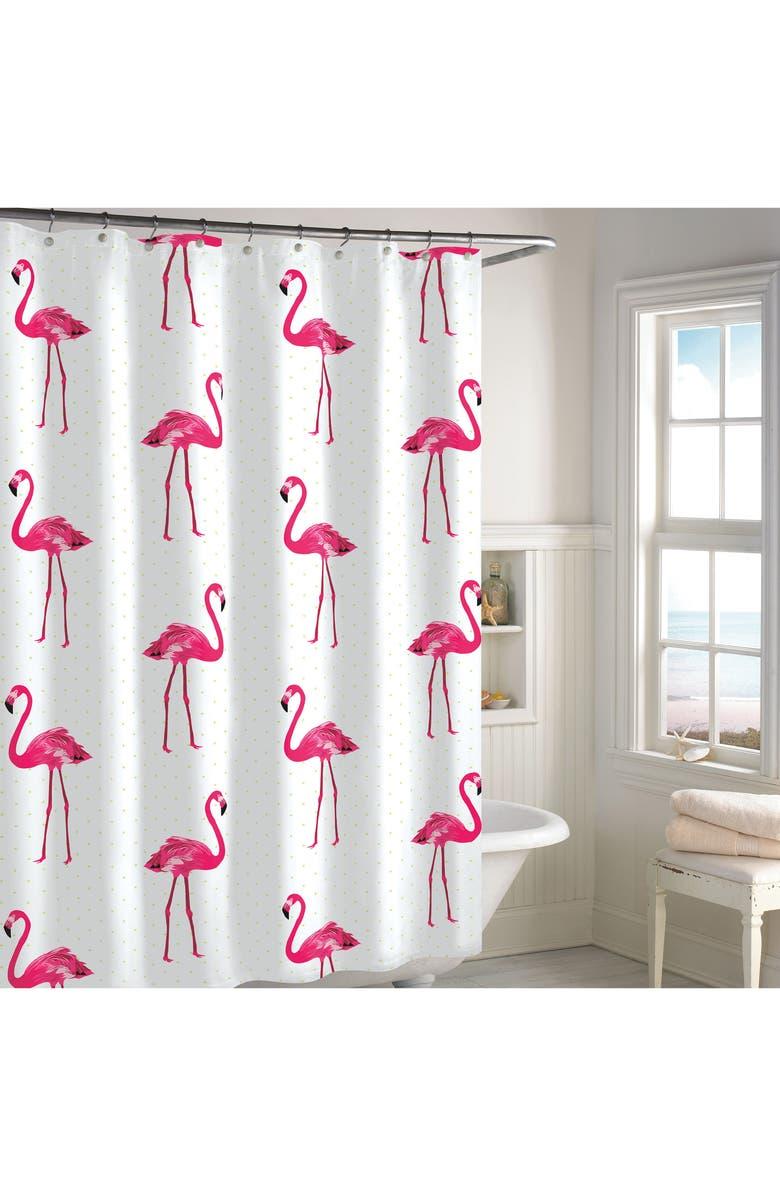 DESTINATIONS Pink Flamingo Shower Curtain, Main, color, 650