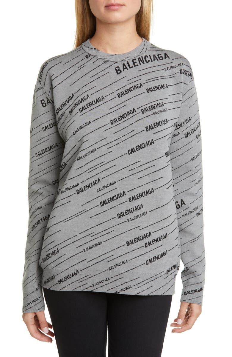 BALENCIAGA Logo Jacquard Wool Blend Sweater, Main, color, GREY/ BLACK