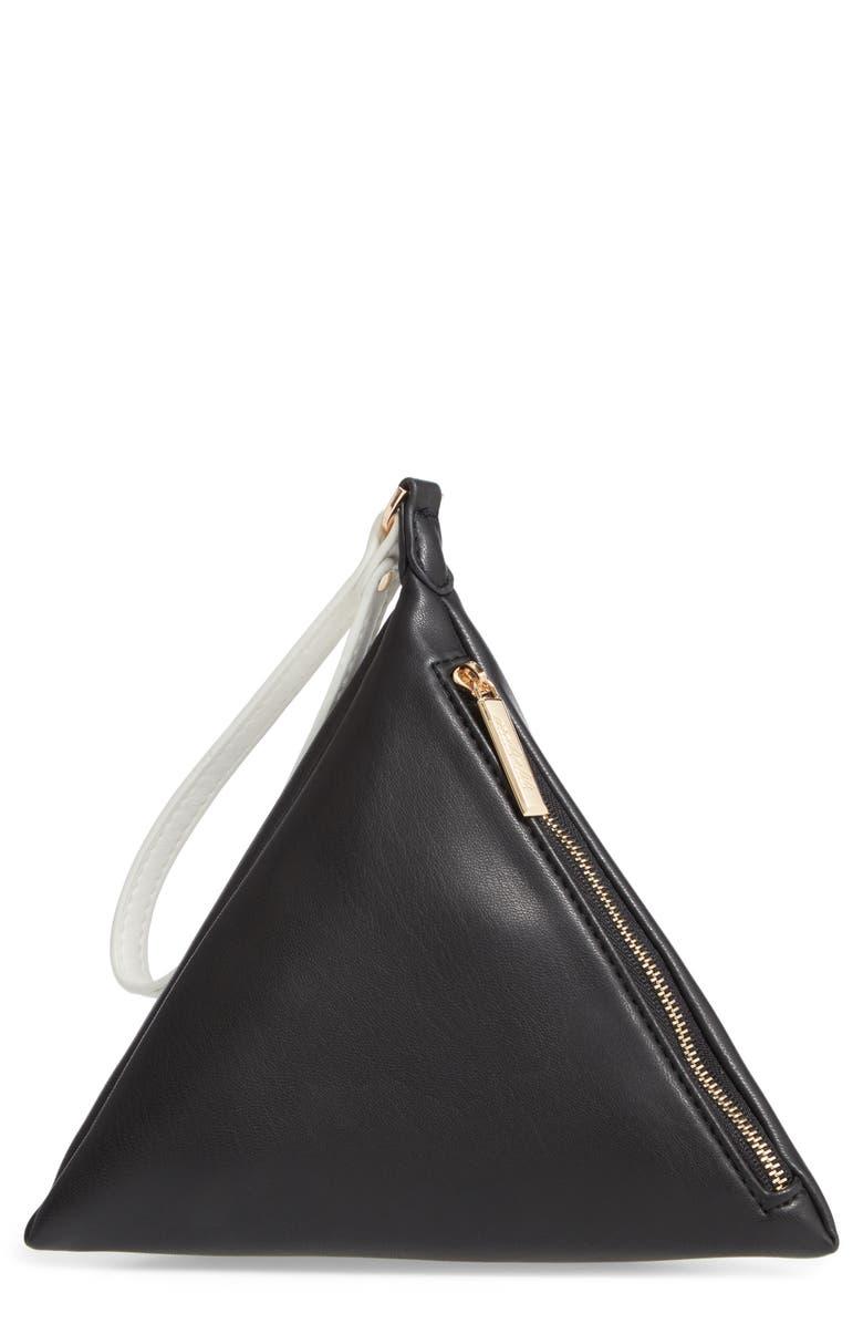 MALI + LILI Polly Pyramid Vegan Leather Wristlet, Main, color, BLACK/ WHITE