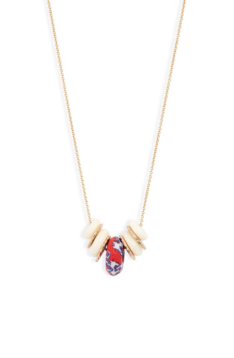 AKOLA Glass & Bone Charm Necklace, Main, color, RED