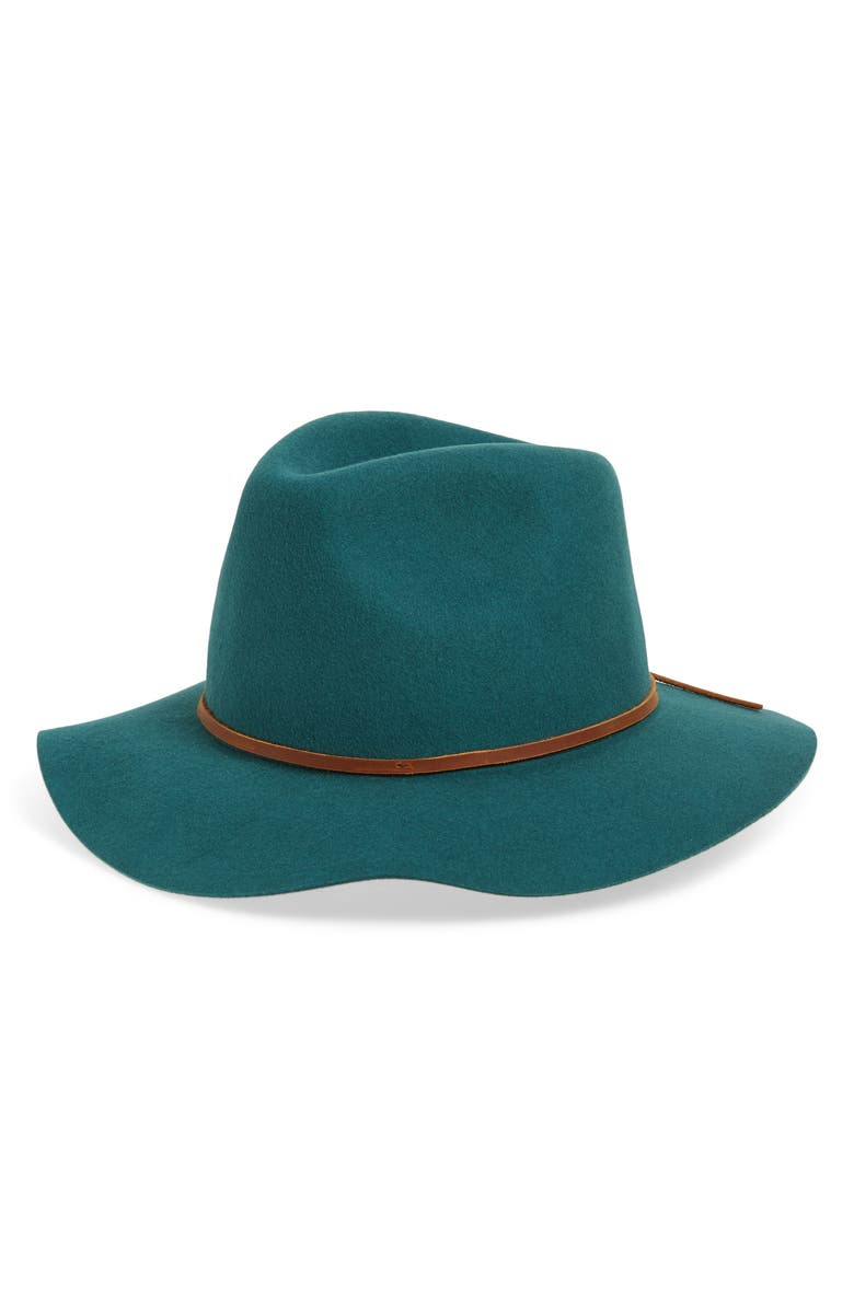 BRIXTON Wesley Felted Wool Fedora, Main, color, EMERALD