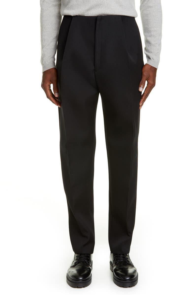 BOTTEGA VENETA Double Compact Wool Pants, Main, color, NERO