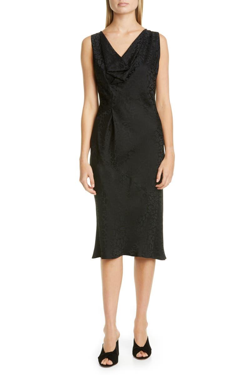 ZERO + MARIA CORNEJO Lana Cheetah Jacquard Dress, Main, color, BLACK