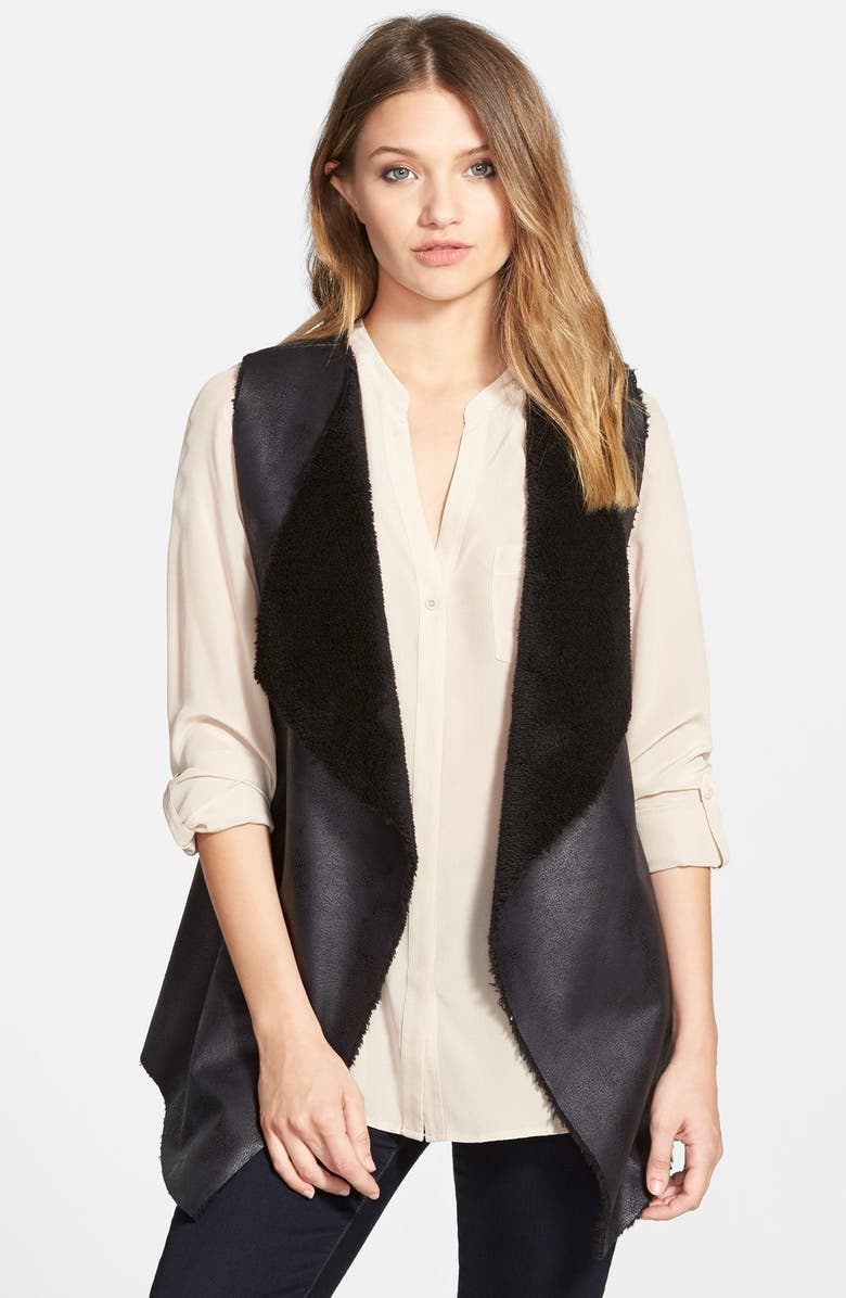 NORDSTROM Faux Shearling Vest, Main, color, 001