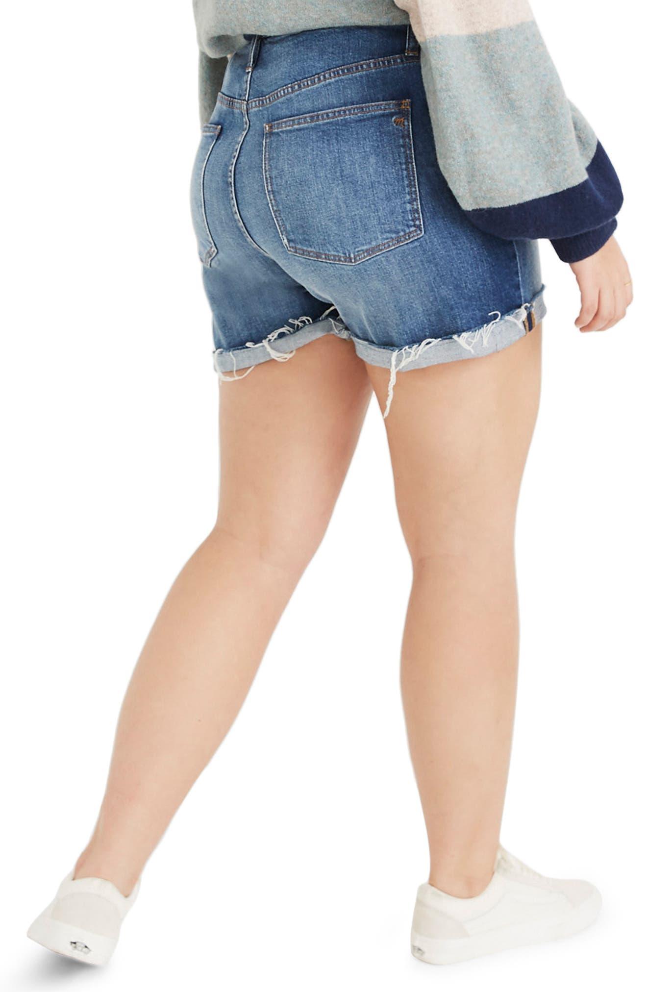 ,                             High Rise Cuffed Denim Shorts,                             Alternate thumbnail 5, color,                             GLEN OAKS