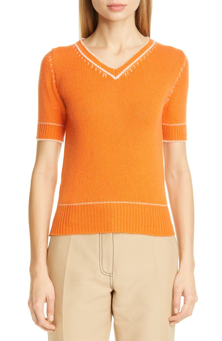 MARNI Contrast Detail Cashmere Sweater, Main, color, CARROT