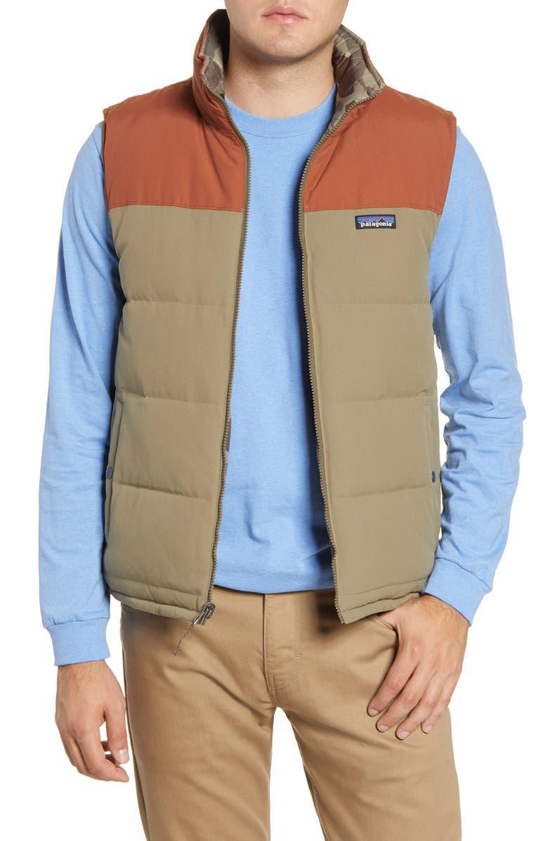PATAGONIA 'Bivy' Reversible Down Fill Vest, Main, color, SAGE KHAKI