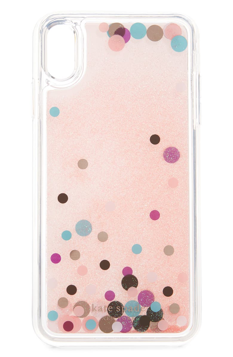 KATE SPADE NEW YORK disco dots liquid glitter iPhone Xs Max case, Main, color, CLEAR MULTI