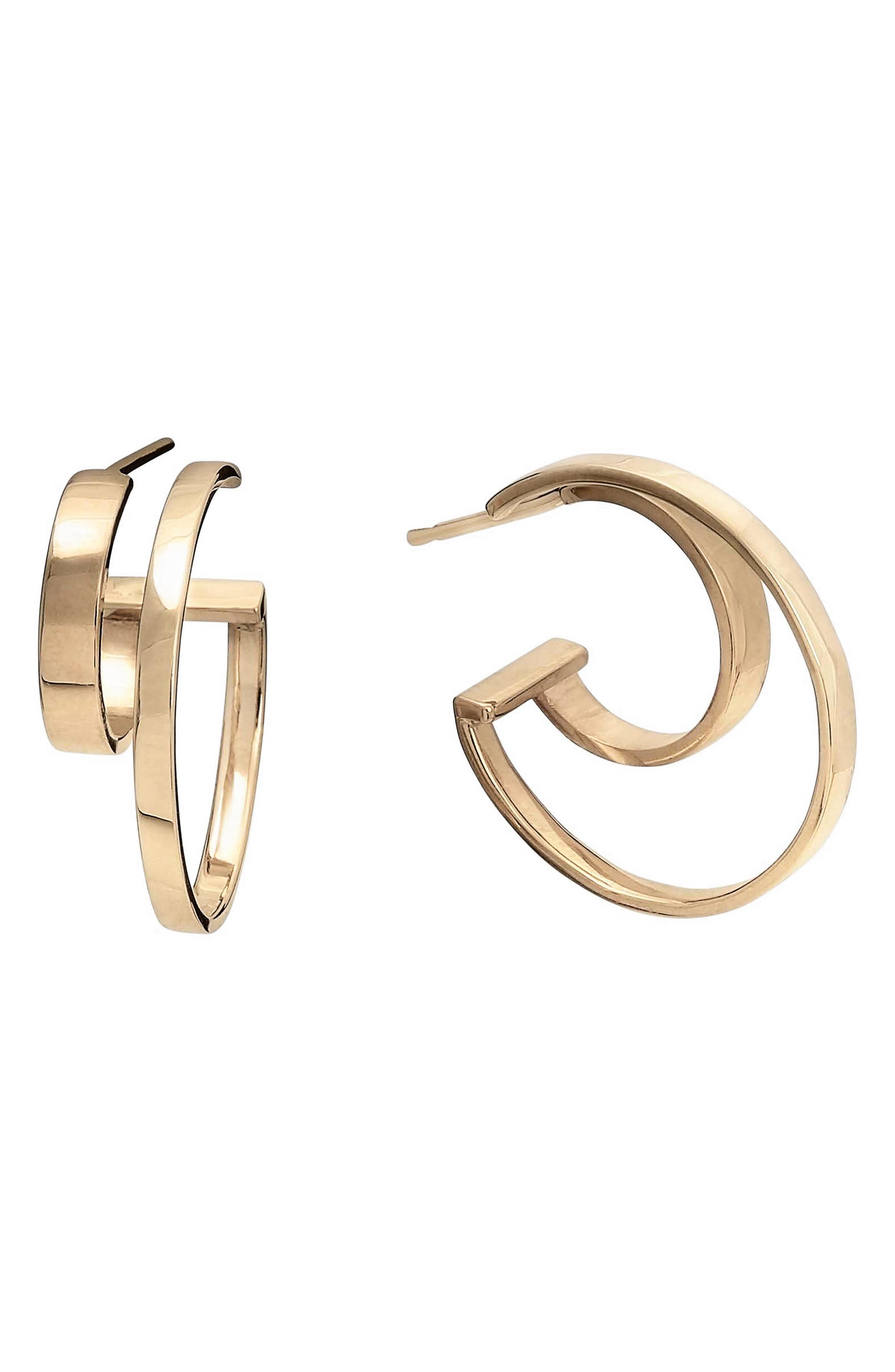Connecting Double Row Small Flat Hoop Earrings