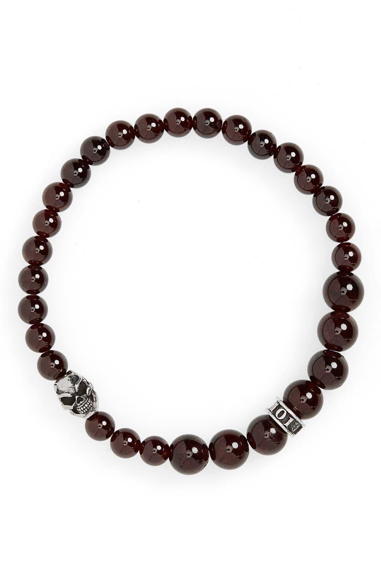 ROOM101 Garnet Skull Bead Bracelet, Main, color, RED