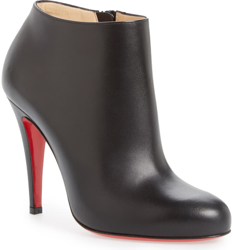CHRISTIAN LOUBOUTIN Belle Round Toe Bootie, Main, color, BLACK LEATHER