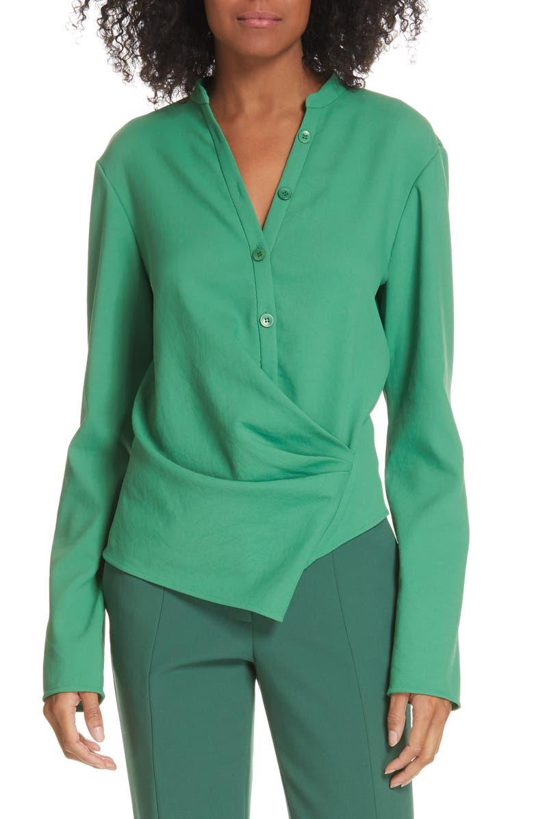 TIBI Chalky Drape Faux Wrap Blouse, Main, color, BASIL GREEN