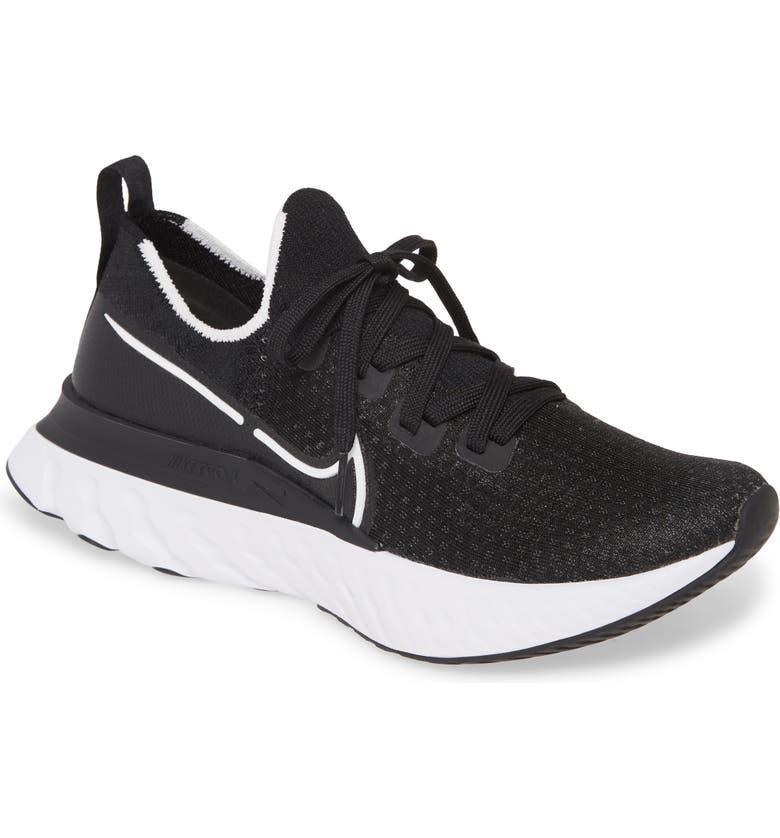 NIKE React Infinity Run Flyknit Running Shoe, Main, color, BLACK/ WHITE/ DARK GREY