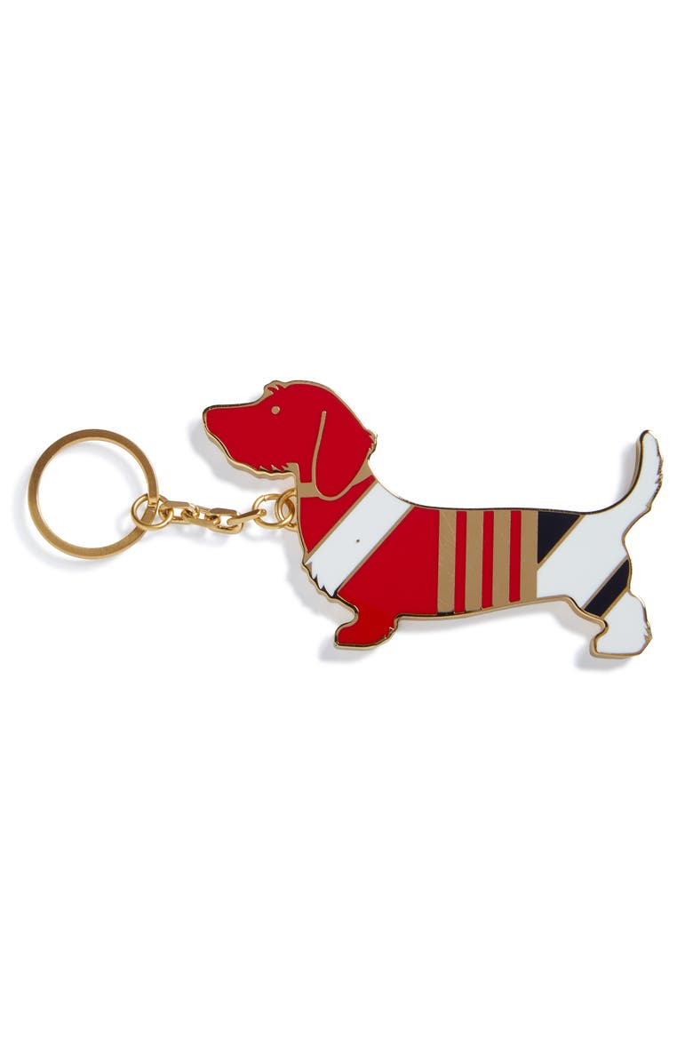 THOM BROWNE Hector Brass Key Ring, Main, color, Red/White/Blue