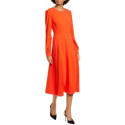 Tory Burch Pleat Detail Long Sleeve Crepe Dress, Orange