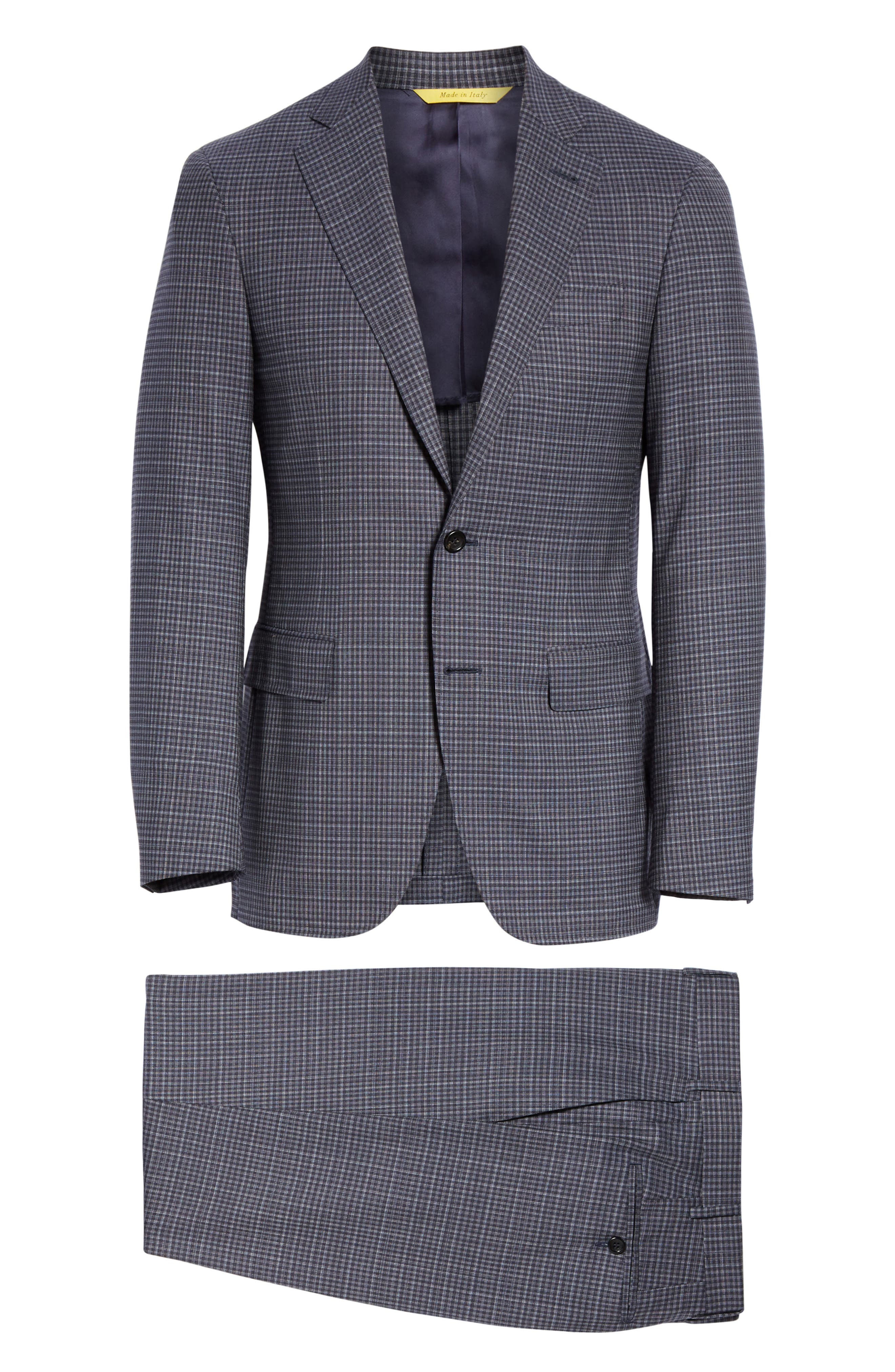 ,                             Milano Trim Fit Check Wool Suit,                             Alternate thumbnail 8, color,                             CHARCOAL