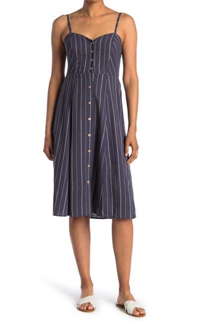 Image of GOOD LUCK GEM Stripe Button Front Midi Dress