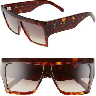 Celine 60mm Flat Top Sunglasses - Dark Havana/ Gradient Brown