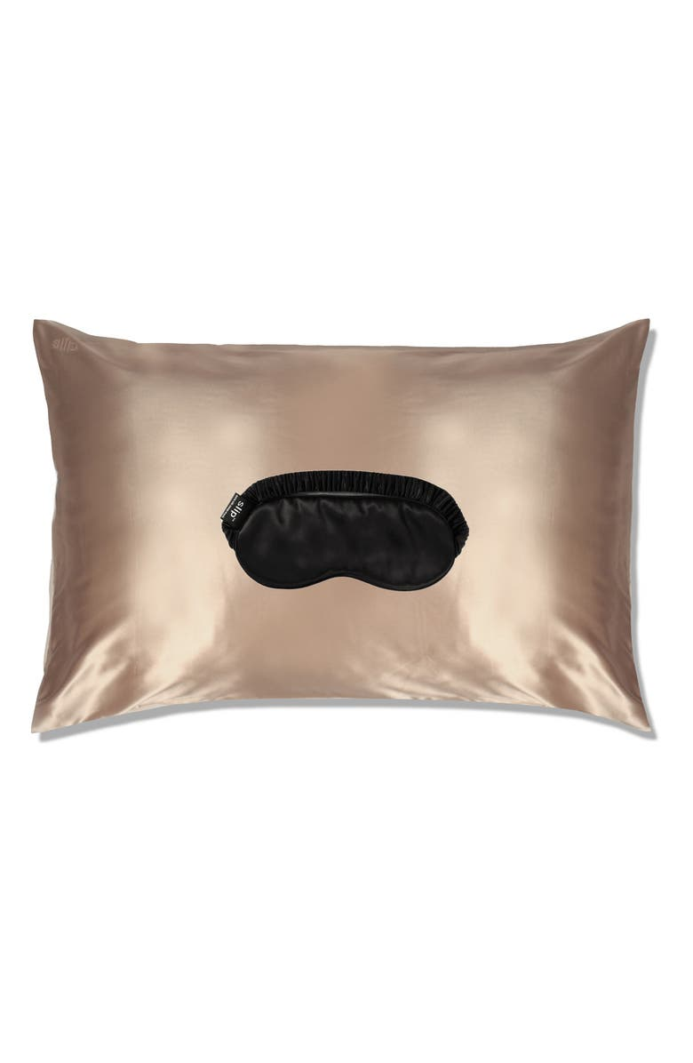 SLIP FOR BEAUTY SLEEP slip<sup>™</sup> for beauty sleep Pillowcase & Eye Mask Set, Main, color, CARAMEL/ BLACK
