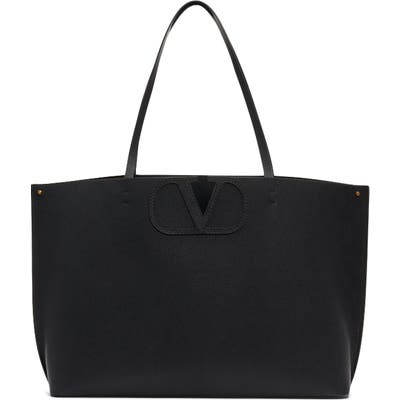 Valentino Garavani Small V-Logo Leather Tote - Black