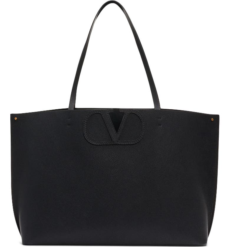 VALENTINO GARAVANI Small V-Logo Leather Tote, Main, color, NERO