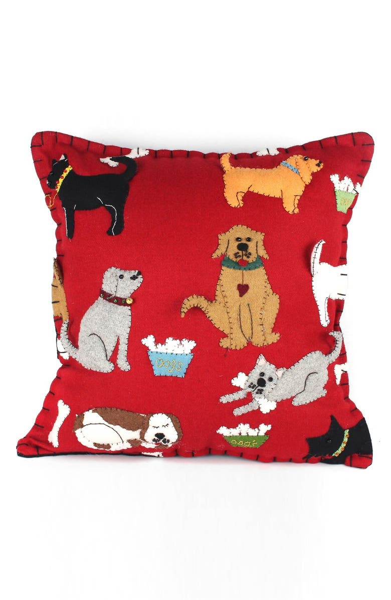 NEW WORLD ARTS Dogs Accent Pillow, Main, color, RED MULTI