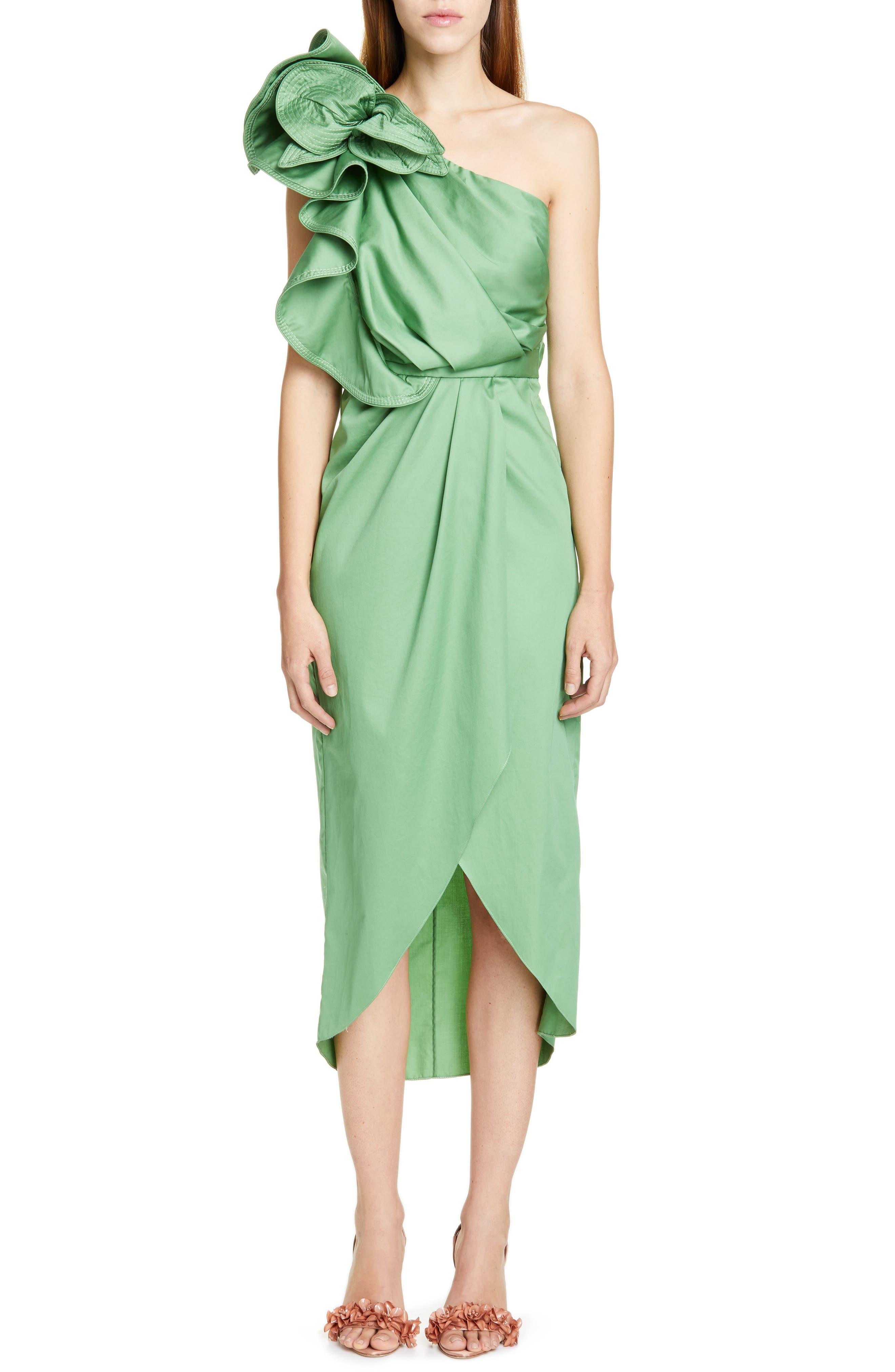 Johanna Ortiz Ruffle One-Shoulder Midi Dress, Green