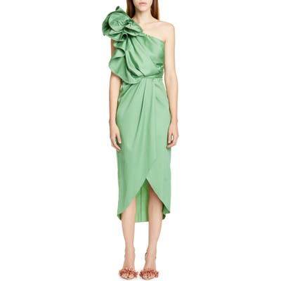 Johanna Ortiz Ruffle One-Shoulder Midi Dress, Green
