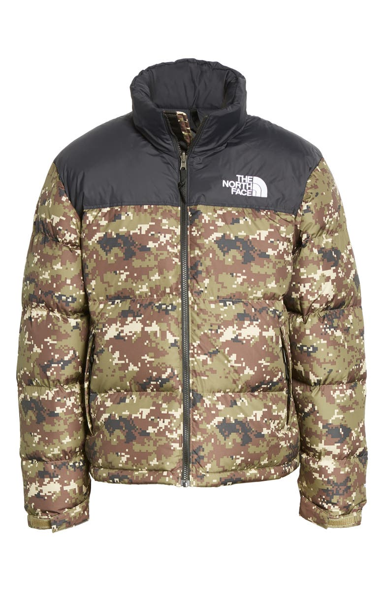 THE NORTH FACE Nuptse 1996 Packable Quilted Down Jacket, Main, color, BURNT OLIVE GREEN CAMO