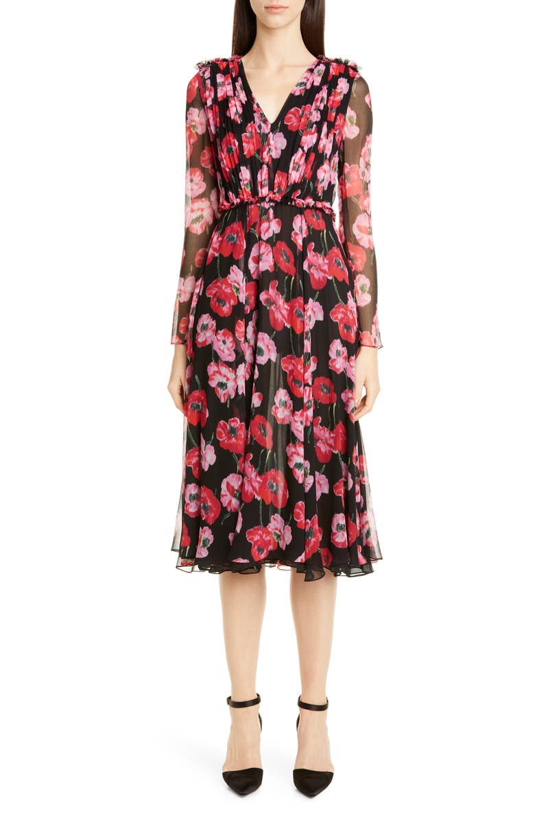 JASON WU COLLECTION Poppy Print Silk Chiffon Long Sleeve Dress, Main, color, BLACK MULTI