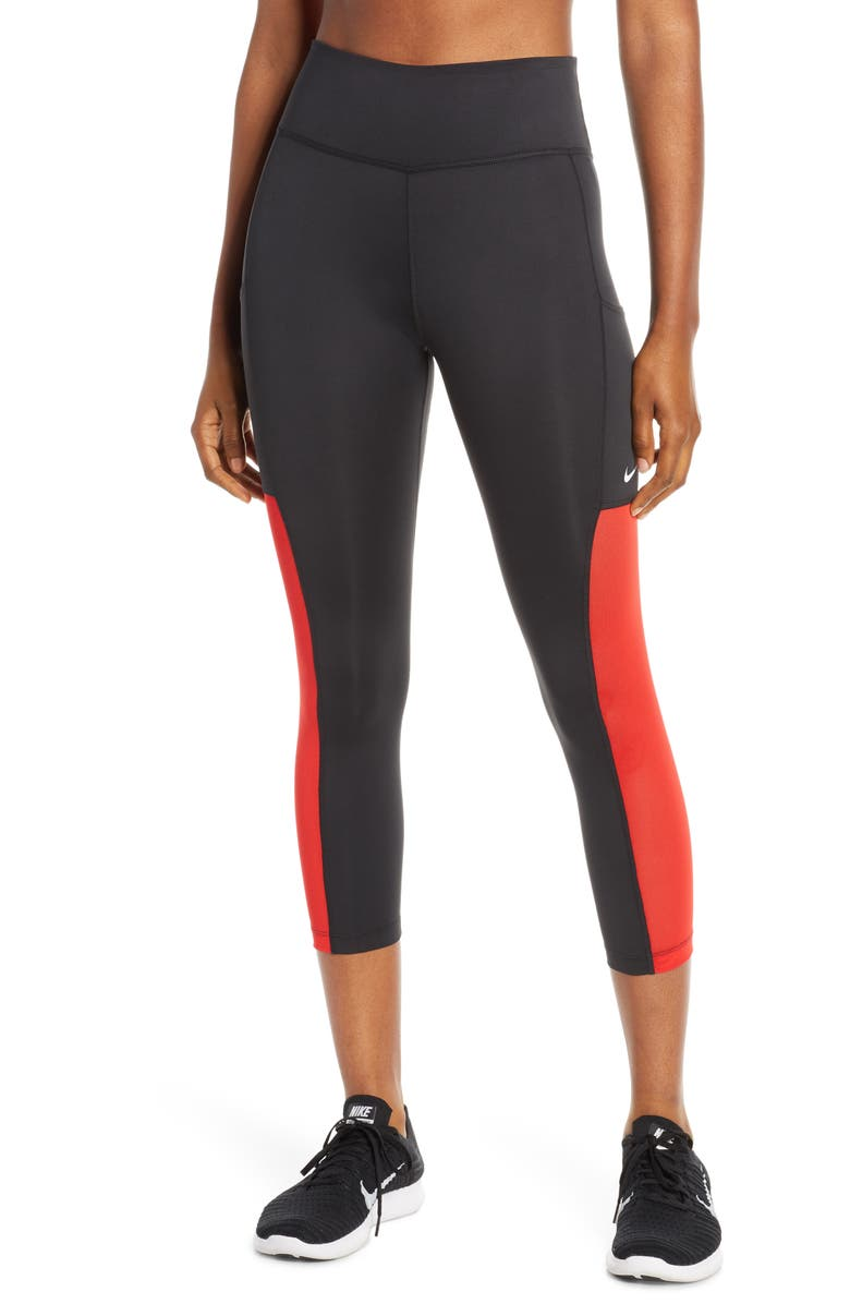 NIKE All In Dri-FIT Crop Training Tights, Main, color, BLACK/ UNIVERSITY RED/ WHITE