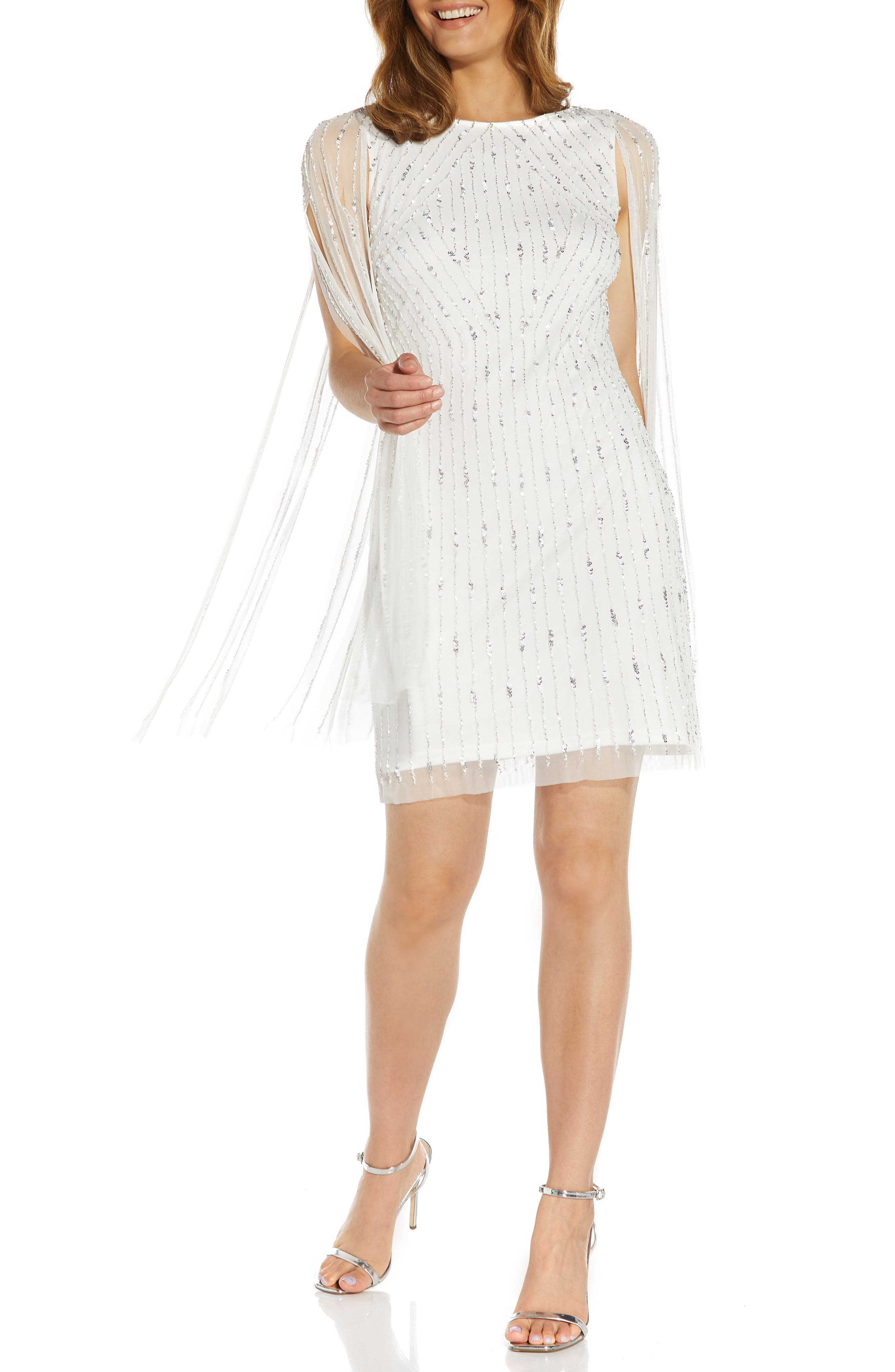 Beaded Cocktail Cape Dress