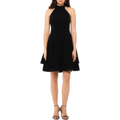 Xscape Glitter Knit Party Dress, Black