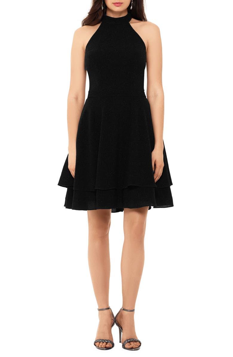XSCAPE Glitter Knit Party Dress, Main, color, BLACK