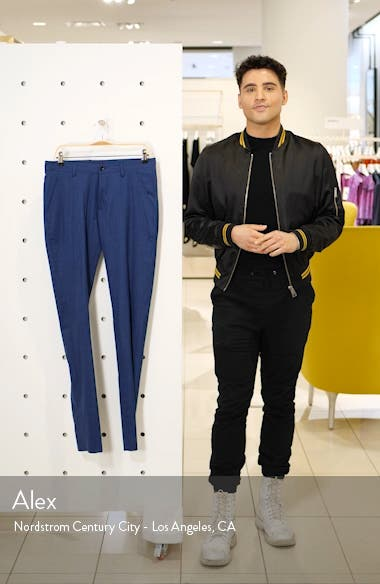 Soho Slim Fit Flat Front Stretch Wool & Linen Dress Pants, sales video thumbnail