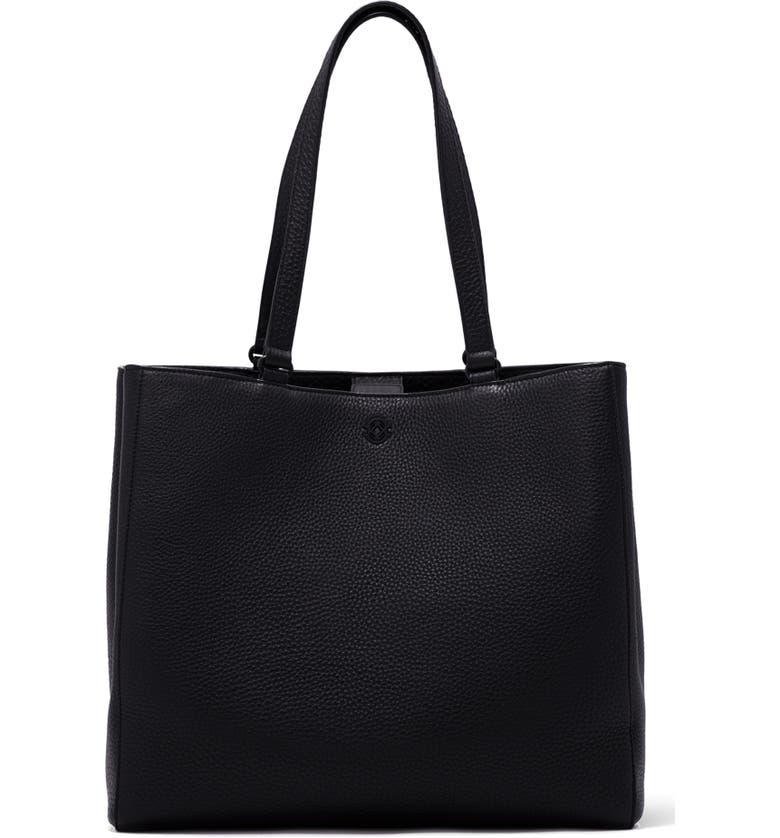 DAGNE DOVER Large Allyn Leather Tote, Main, color, ONYX