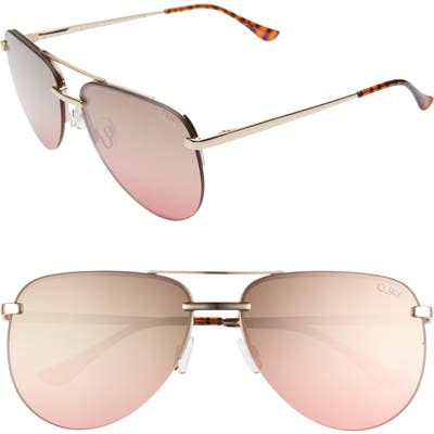 Quay Australia X Jlo The Playa 5m Aviator Sunglasses - Gold/ Brown Pink Flash