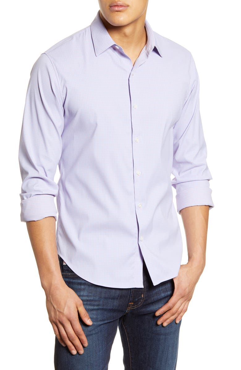 BONOBOS Slim Fit Check Stretch Button-Up Shirt, Main, color, QUINCY PLAID FADE OUT PINK