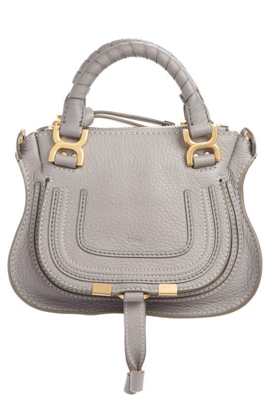 Chloé Mini Marcie Leather Crossbody Bag In Cashmere Grey