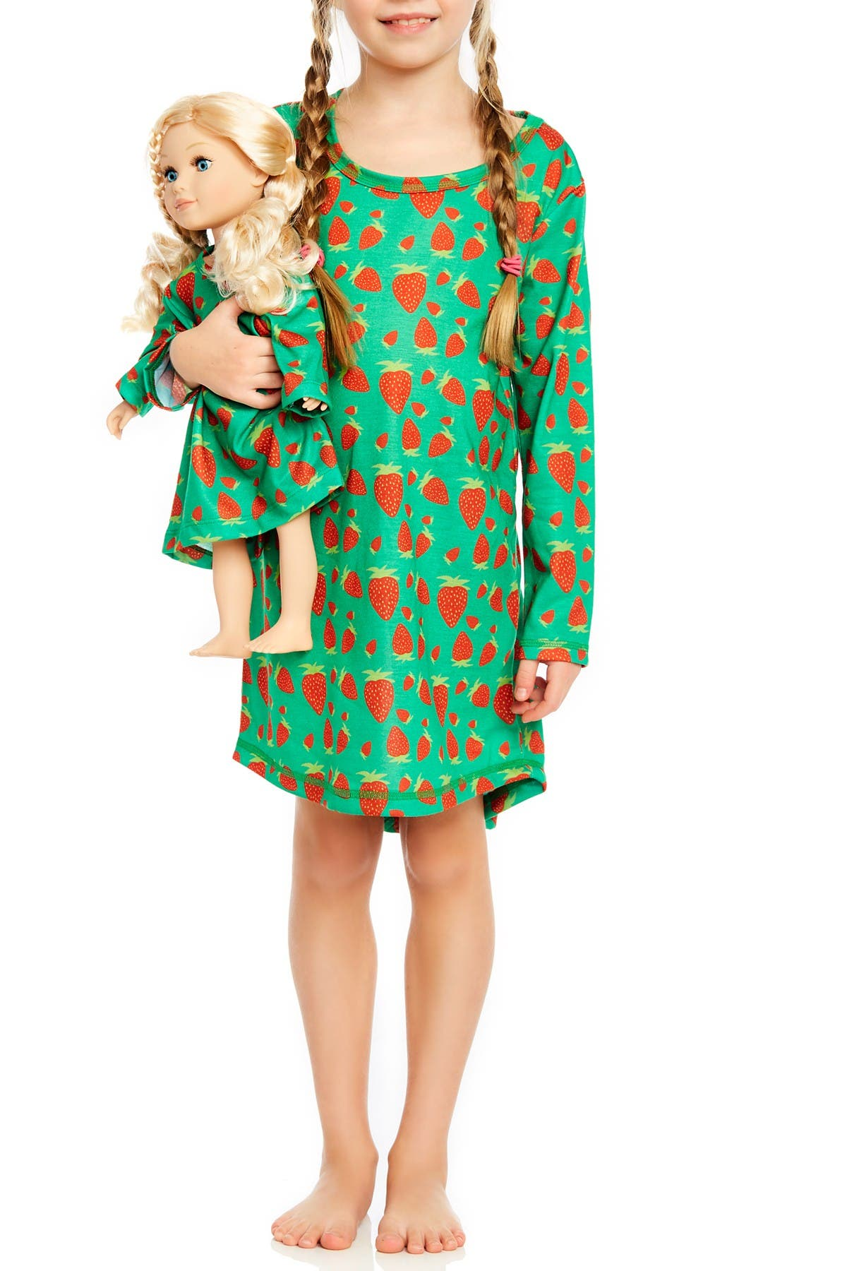 Image of Leveret Strawberry Nightgown & Matching Doll Nightgown