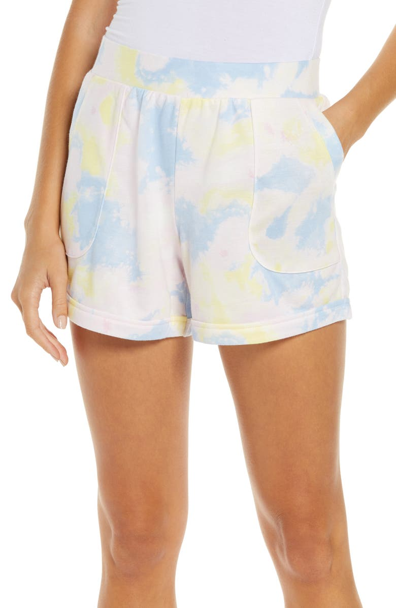 REFINERY29 Double Knit Lounge Shorts, Main, color, MULTI TIE-DYE