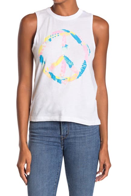 Image of Chaser Peace Sign Graphic Muscle Tank Top